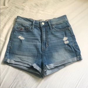 Excellent High waisted denim shorts hollister